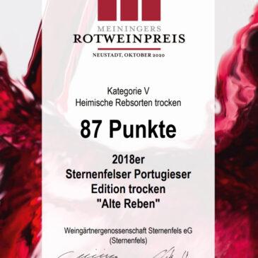 """MEININGERS ROTWEINPREIS 2020 für unseren Sternenfelser Portugieser Edition trocken """"Alte Reben"""""""